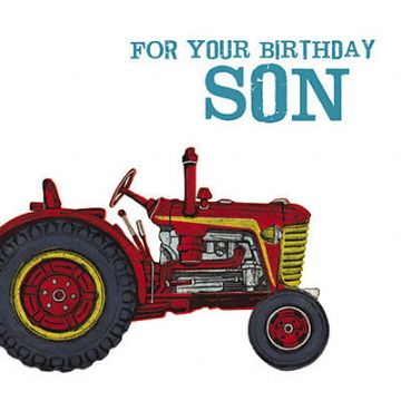 "SON BIRTHDAY CARD ""RED TRACTOR"" SIZE 6.25"" x 6.25"" AGRI 9966"